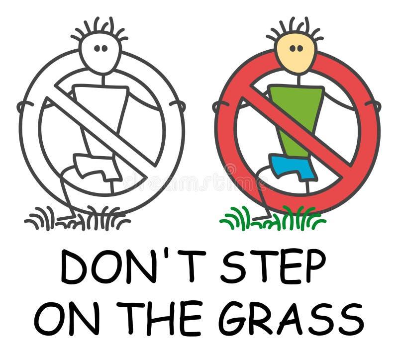 Etapa engraçada do homem da vara do vetor na grama no estilo das crianças Não pise no ícone da grama nem não ande no sinal do gra ilustração stock