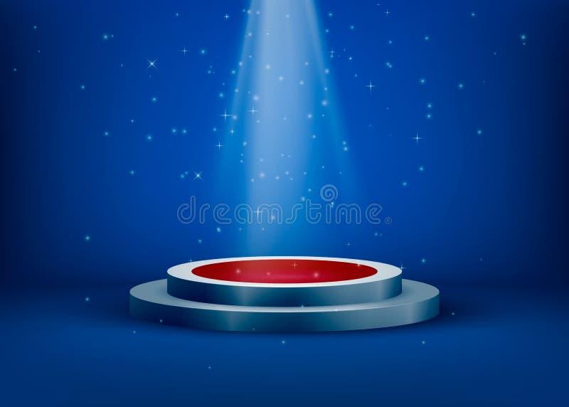 Etapa iluminada proyector Fondo del partido del club de noche Escena con brillo y chispas en aire Ilustración del vector libre illustration