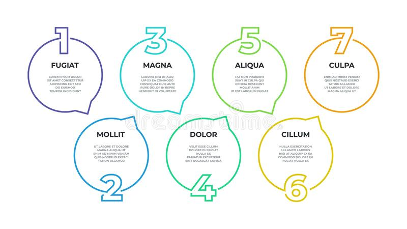 Etapa infographic Fluxograma do processo, gráfico do espaço temporal, linha diagrama dos trabalhos, 7 opções do negócio das etapa ilustração stock