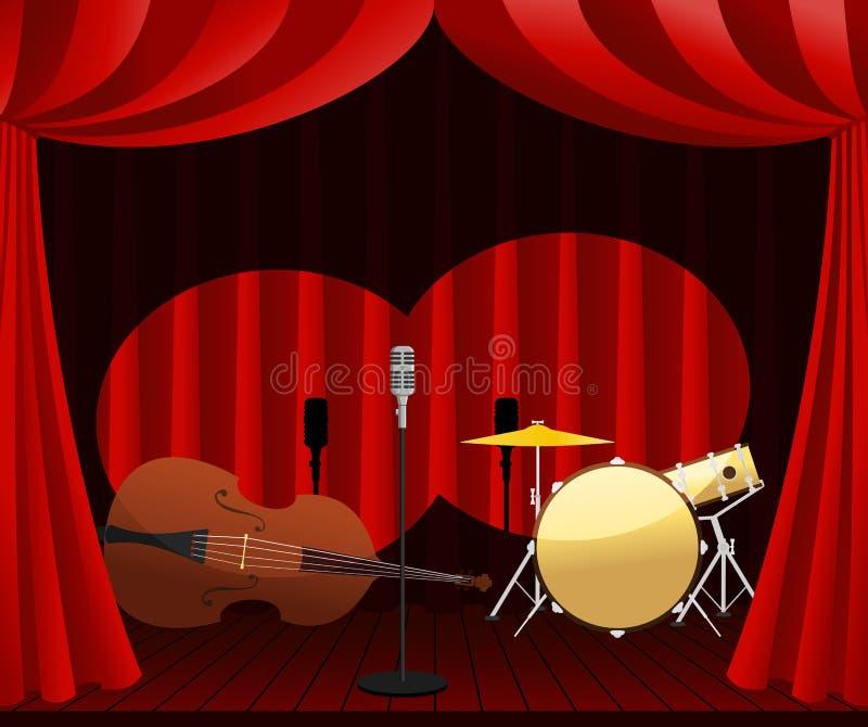 Etapa para la demostración del jazz stock de ilustración