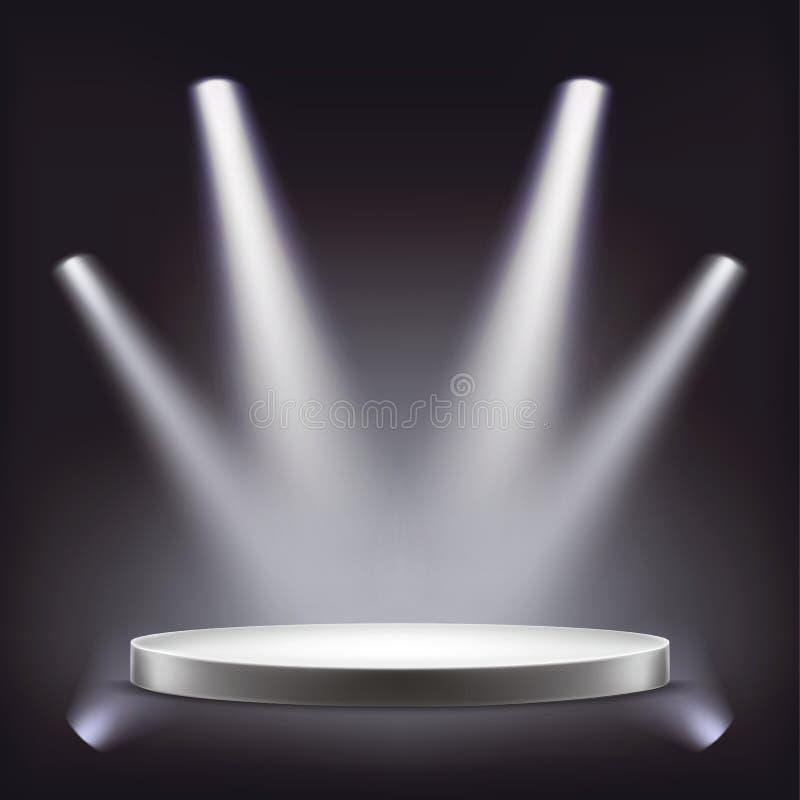 Etapa, podio redondo vacío iluminado por los proyectores ilustración del vector