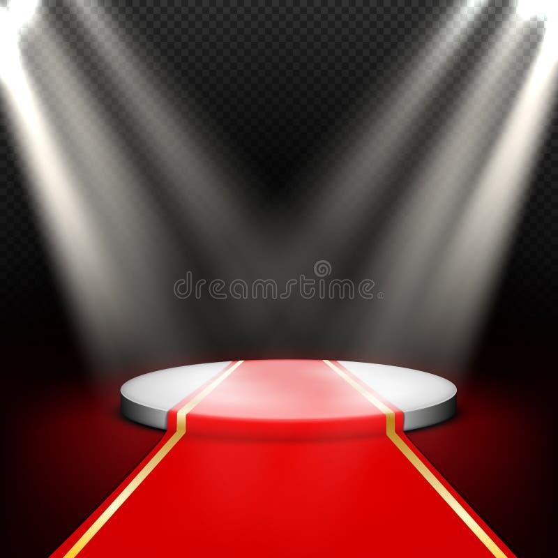 Etapa, podio redondo vacío iluminado por los proyectores stock de ilustración