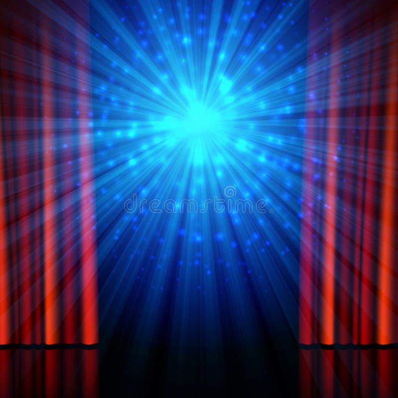 Etapa, proyectores y cortinas abiertas del rojo ilustración del vector