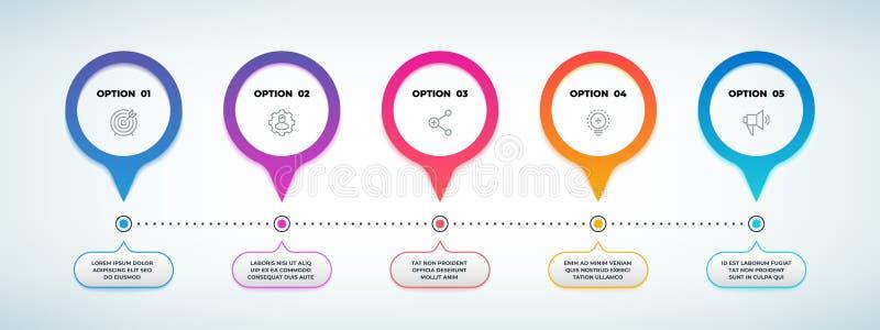 Etapa realística infographic fluxograma da opção 3D, molde do gráfico do espaço temporal, bandeira da apresentação do negócio Vet ilustração do vetor