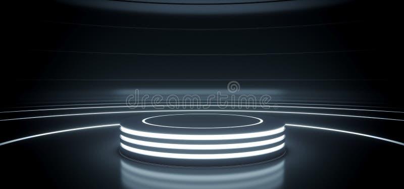 Etapa redonda del círculo del encendedor vacío de alta tecnología moderno del podio de Sci Fi en sitio reflexivo oscuro con las l ilustración del vector