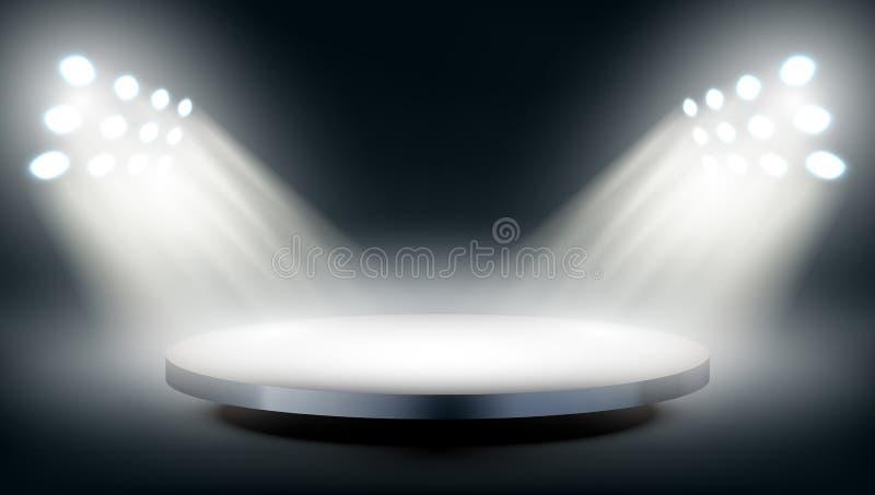 Etapa redonda iluminada por los proyectores stock de ilustración