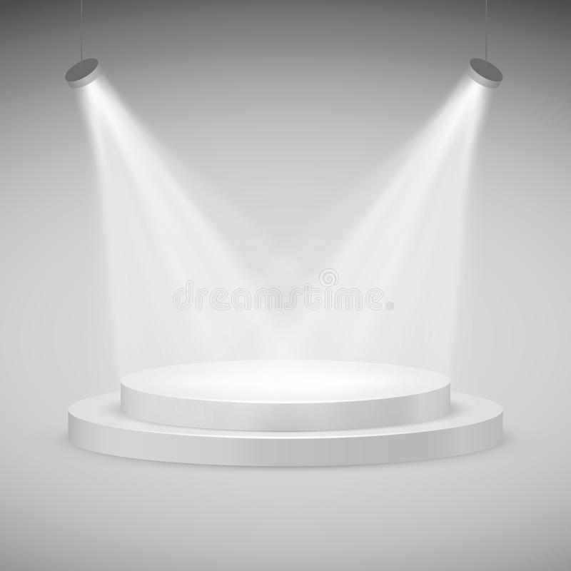 Etapa redonda iluminada por los proyectores Podio realista Ilustración del vector stock de ilustración