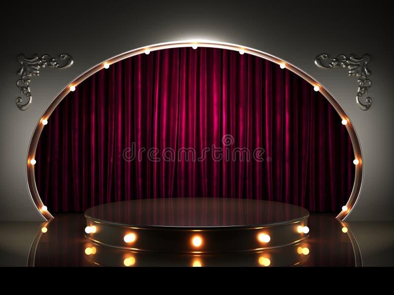 Etapa roja de la cortina con las luces libre illustration