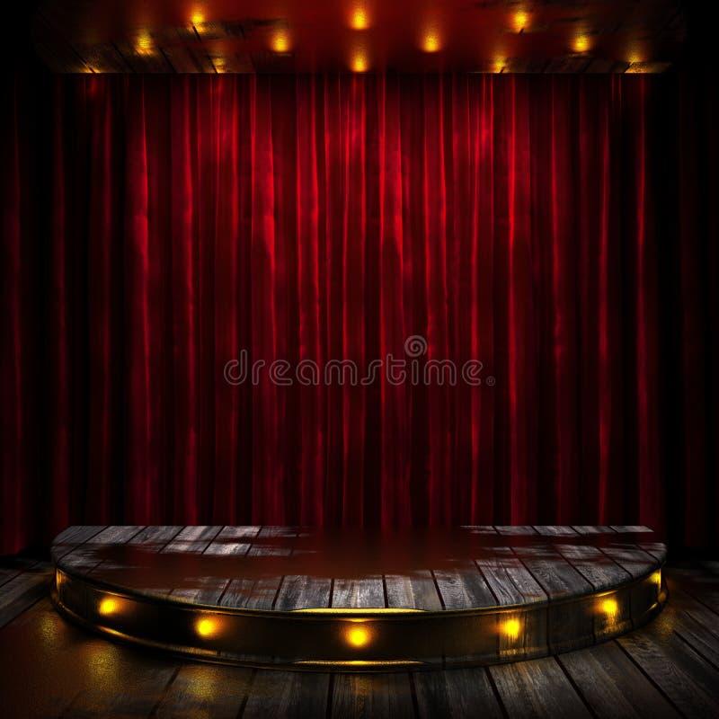 Etapa roja de la cortina con las luces foto de archivo