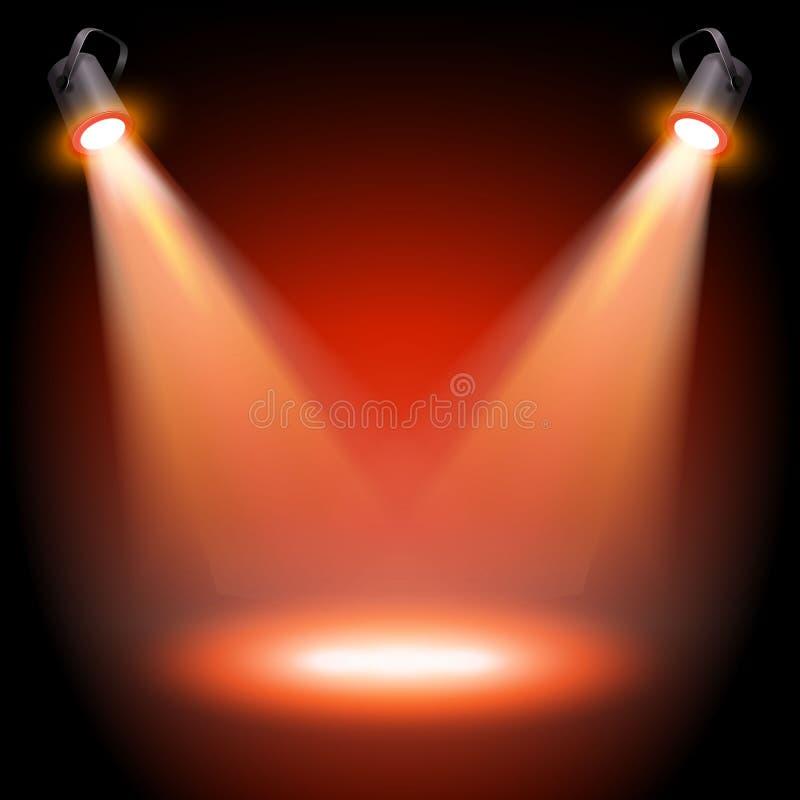 Etapa roja vacía del vector con dos proyectores stock de ilustración