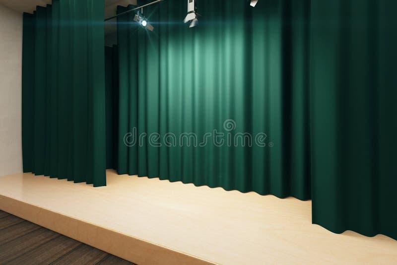 Etapa vacía con escenas verdes y proyectores ilustración del vector