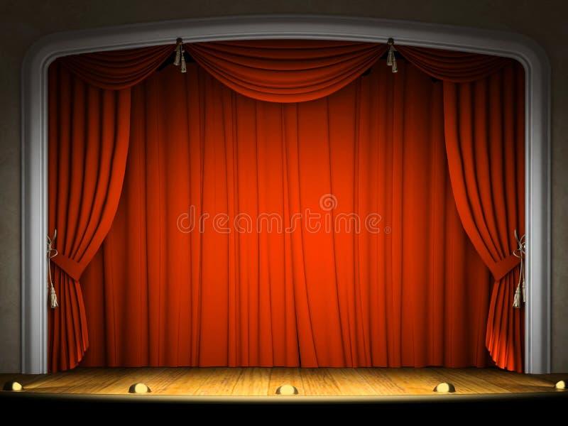 Etapa vacía con la cortina roja libre illustration