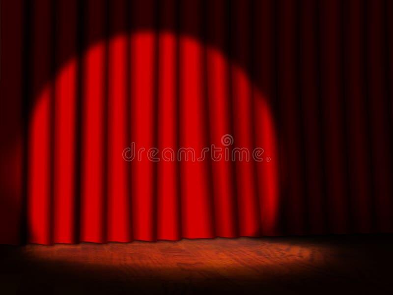 Etapa vacía con las cortinas y el proyector rojos libre illustration