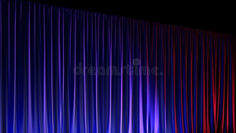 Etapa vacía oscura con las cortinas azules ricas del terciopelo 3d rinden ilustración del vector
