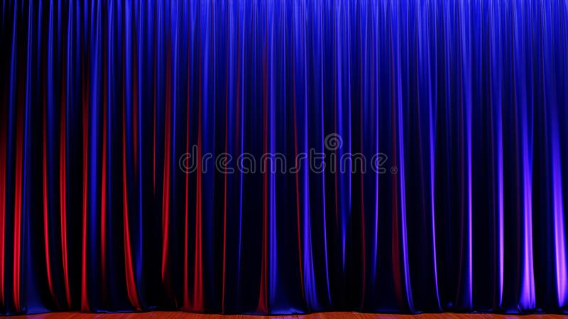 Etapa vacía oscura con las cortinas azules ricas del terciopelo 3d rinden libre illustration