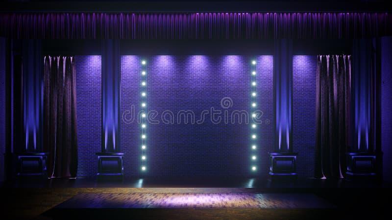 Etapa vacía oscura con las luces del punto Comedia, de pie, cabaret, etapa 3d del club nocturno rendir stock de ilustración