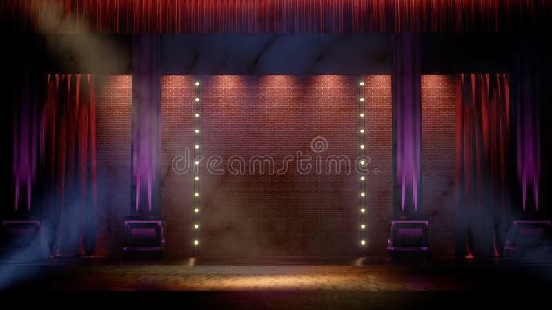 Etapa vacía oscura con las luces del punto Comedia, de pie, cabaret, etapa 3d del club nocturno rendir ilustración del vector