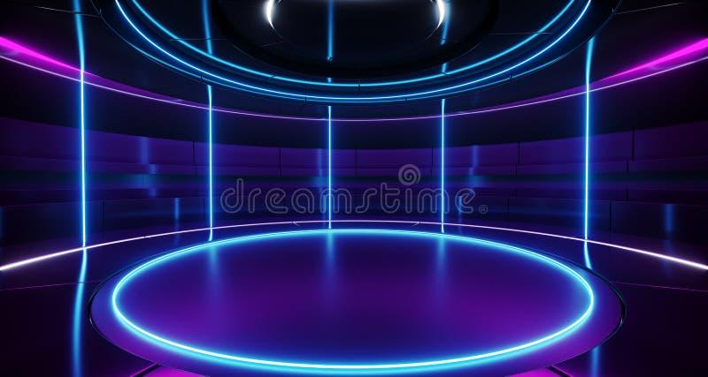 Etapa vacía redonda retra futurista extranjera moderna R de alta tecnología de Sci Fi stock de ilustración