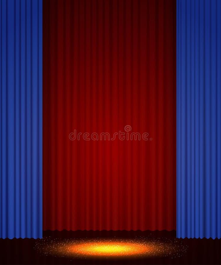 Etapa vac?a del teatro con la cortina Fondo para la demostraci?n, presentaci?n, concierto, dise?o foto de archivo libre de regalías