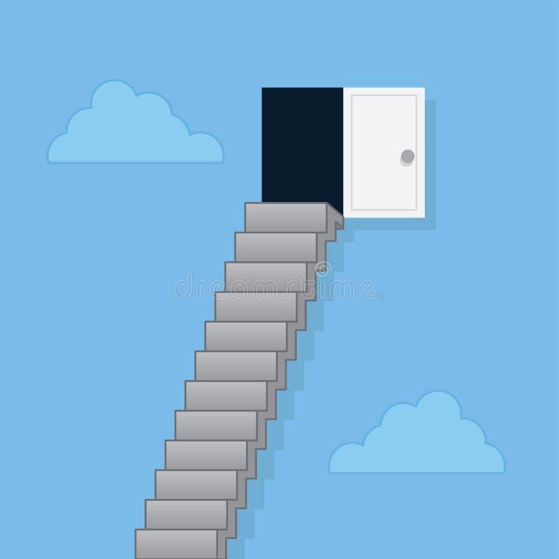 Etapas às nuvens da porta ilustração do vetor