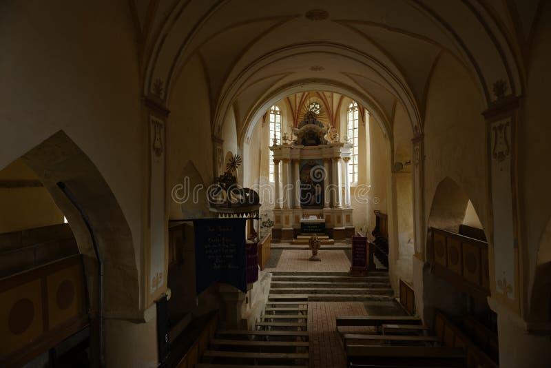 Etapas a alterar-se na igreja, égua de Copsa, a Transilvânia, Romênia fotos de stock royalty free