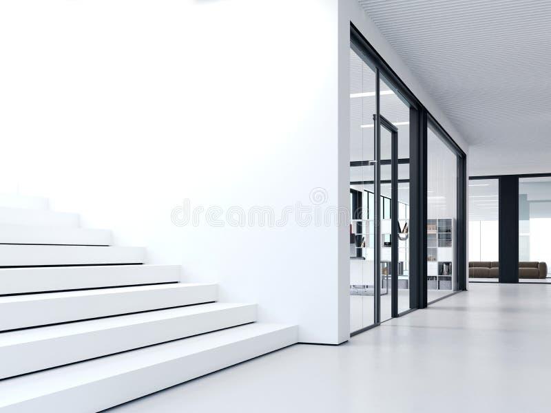 Etapas brancas no escritório brilhante rendição 3d ilustração stock