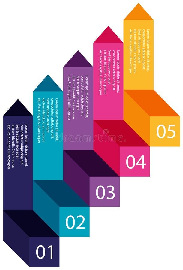 Etapas coloridas de uma informação ilustração stock