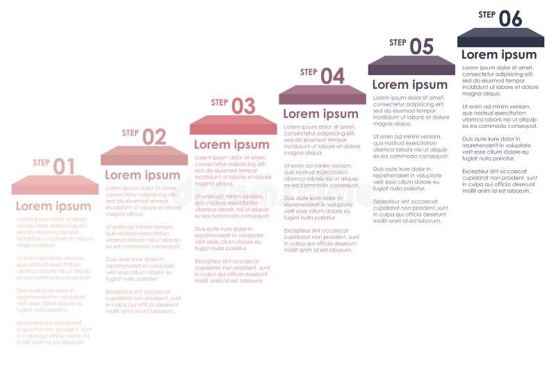 Etapas coloridas de uma informação ilustração do vetor