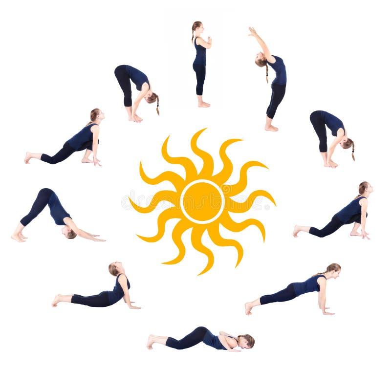 Etapas da saudação namaskar do sol do surya da ioga ilustração royalty free