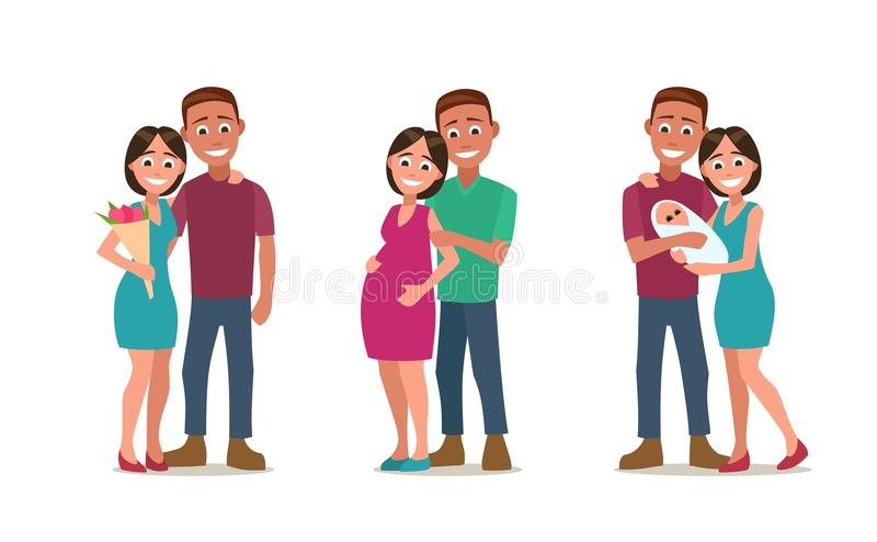 Etapas de crear a la familia Amor, embarazo, nacimiento Pareja y niño libre illustration