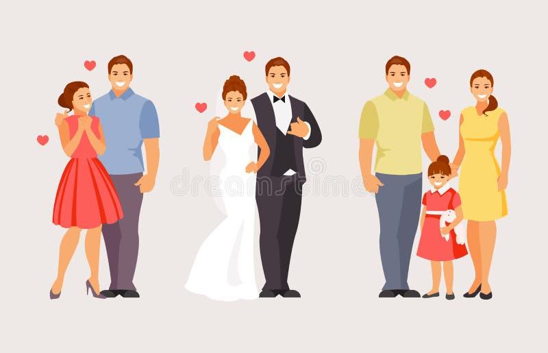 Etapas de crear a una familia stock de ilustración