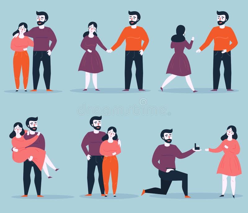Etapas de la relación de la datación al compromiso stock de ilustración
