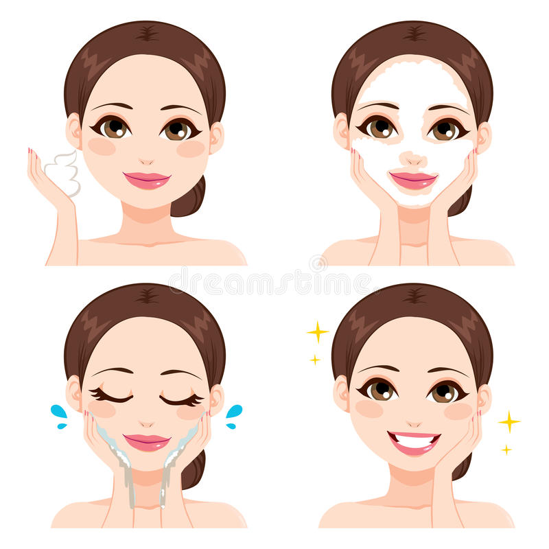 Etapas de lavagem da cara da mulher ilustração royalty free
