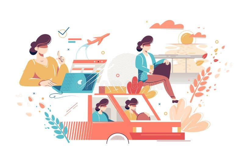 Etapas de proceso del viaje turístico libre illustration