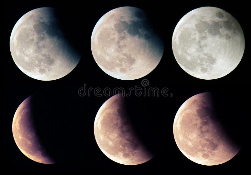 Etapas del eclipse lunar fotos de archivo libres de regalías