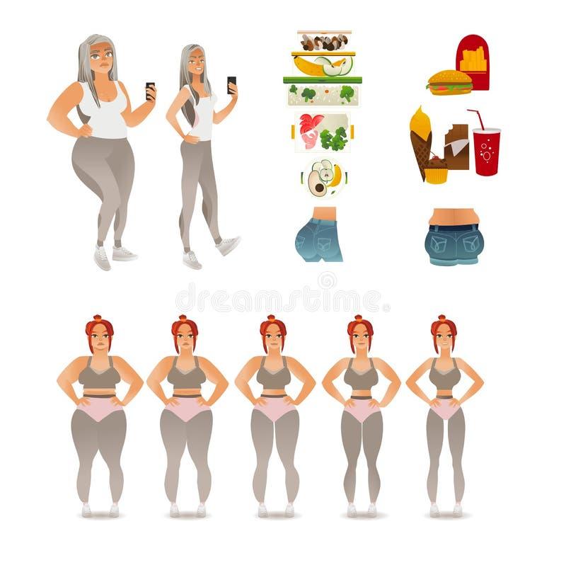 Etapas del vector del peso que pierde de la mujer ilustración del vector