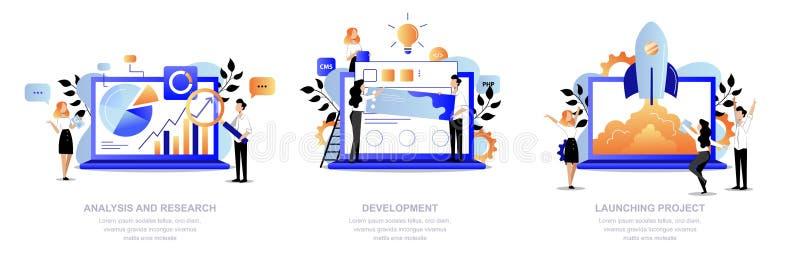 Etapas do desenvolvimento de projeto A equipe faz a partida da pesquisa, da análise, do design web e do lançamento Ilustra??o lis ilustração do vetor