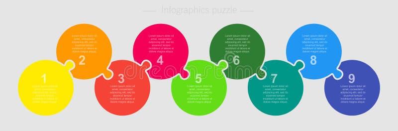 Etapas do gráfico 9 da informação do círculo do enigma de serra de vaivém do vetor ilustração stock