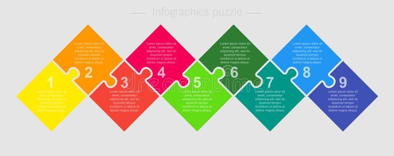Etapas do gráfico 4 da informação dos quadrados do enigma de serra de vaivém do vetor ilustração stock