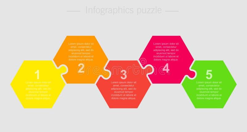 Etapas do gráfico 5 da informação do hexágono do enigma de serra de vaivém do vetor ilustração stock