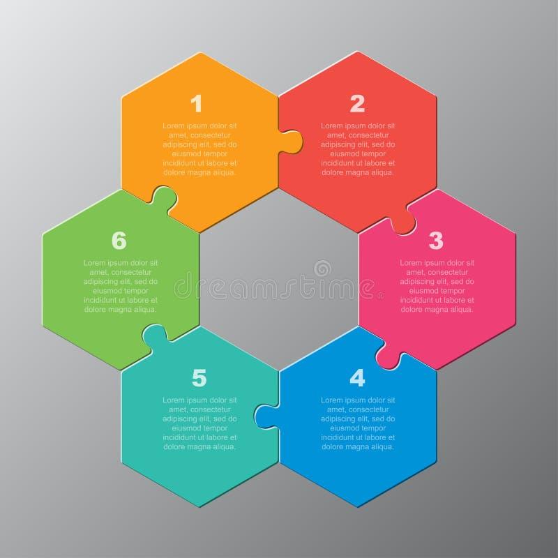 Etapas do gráfico 6 da informação do hexágono do enigma de serra de vaivém do vetor ilustração do vetor