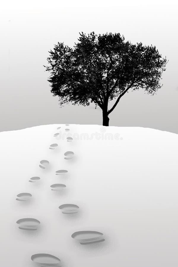 Etapas do pé na neve ilustração do vetor