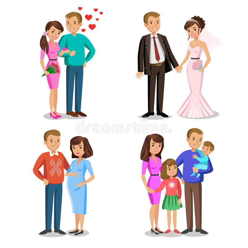 Etapas felices de la familia El crear de la familia feliz ilustración del vector