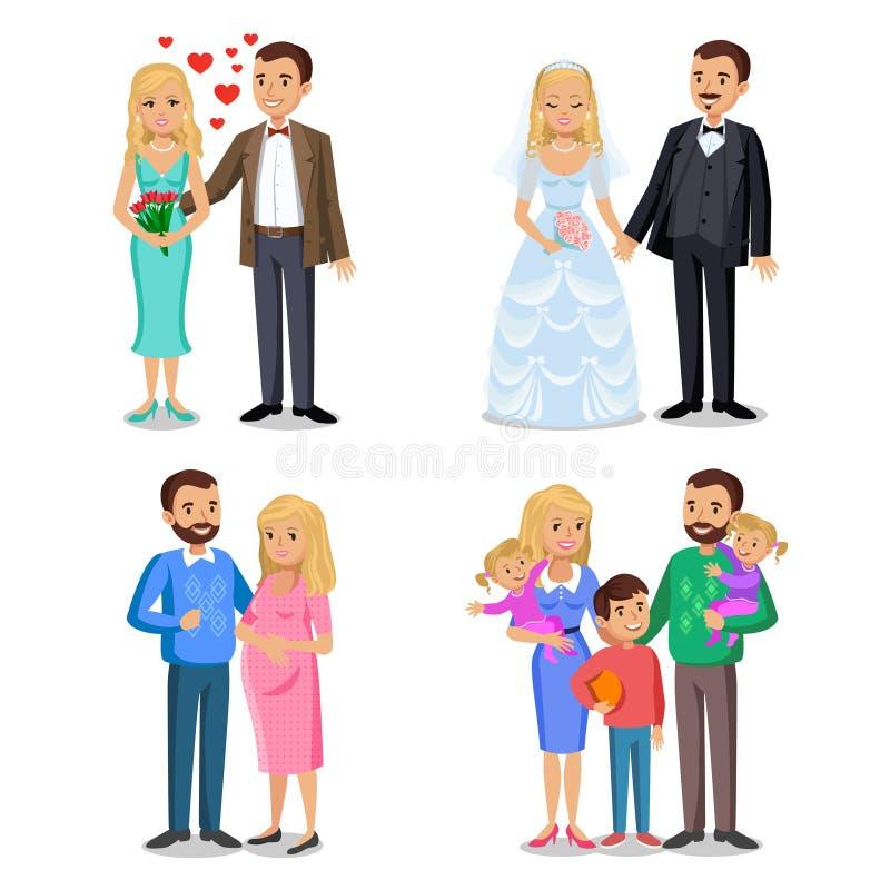 Etapas felices de la familia El crear de la familia feliz libre illustration