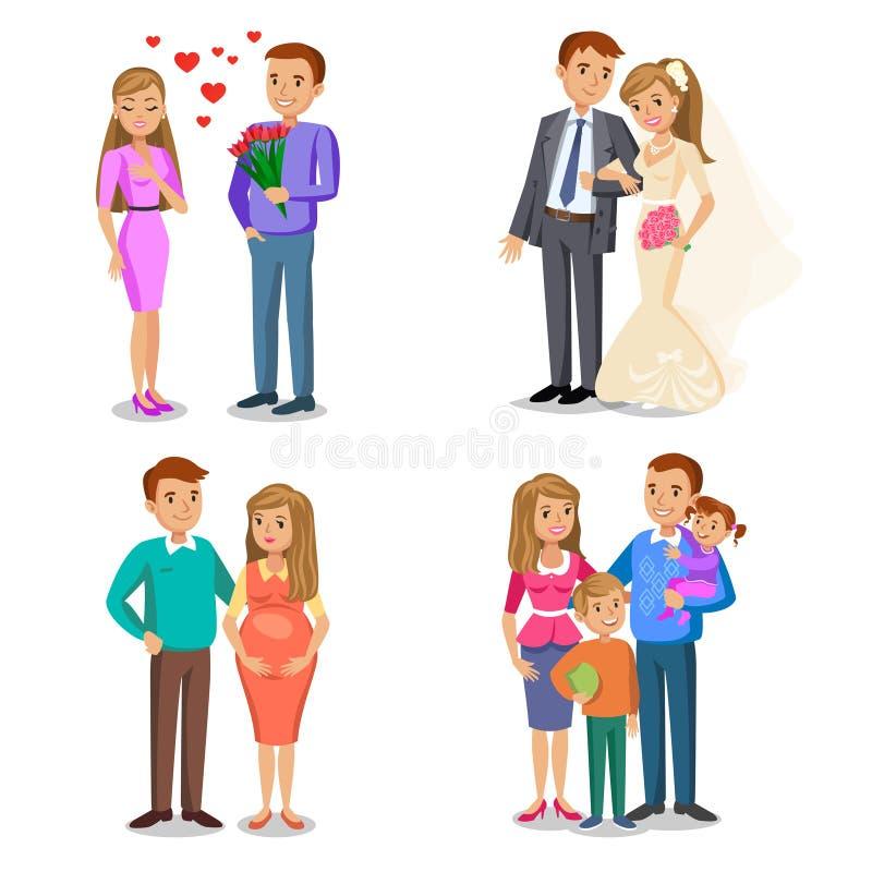 Etapas felices de la familia El crear de la familia feliz stock de ilustración
