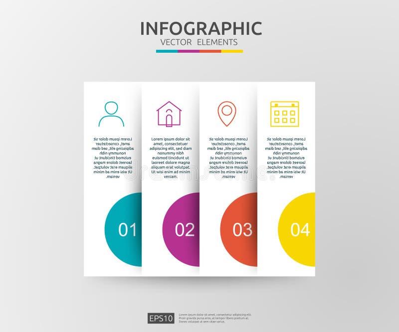 4 etapas infographic molde do projeto do espaço temporal com etiqueta do papel 3D Conceito do negócio com opções Para o índice, d ilustração do vetor