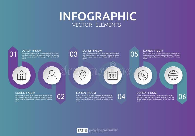 6 etapas infographic molde do projeto do espa?o temporal com etiqueta do papel 3D, c?rculos integrados Conceito do neg?cio com op ilustração stock