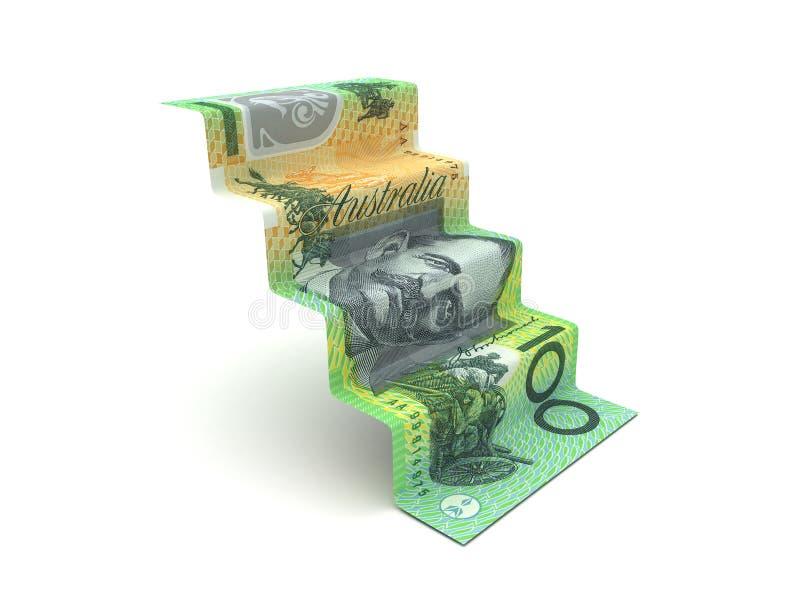 Etapas mais altas com dólar australiano ilustração stock