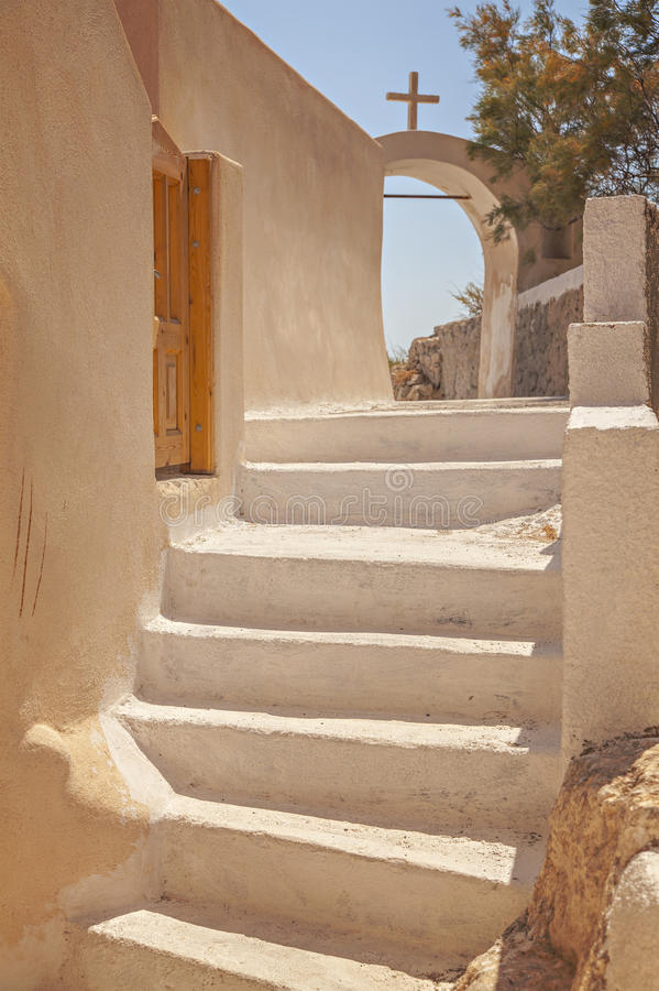 Etapas na ilha de Santorini fotos de stock