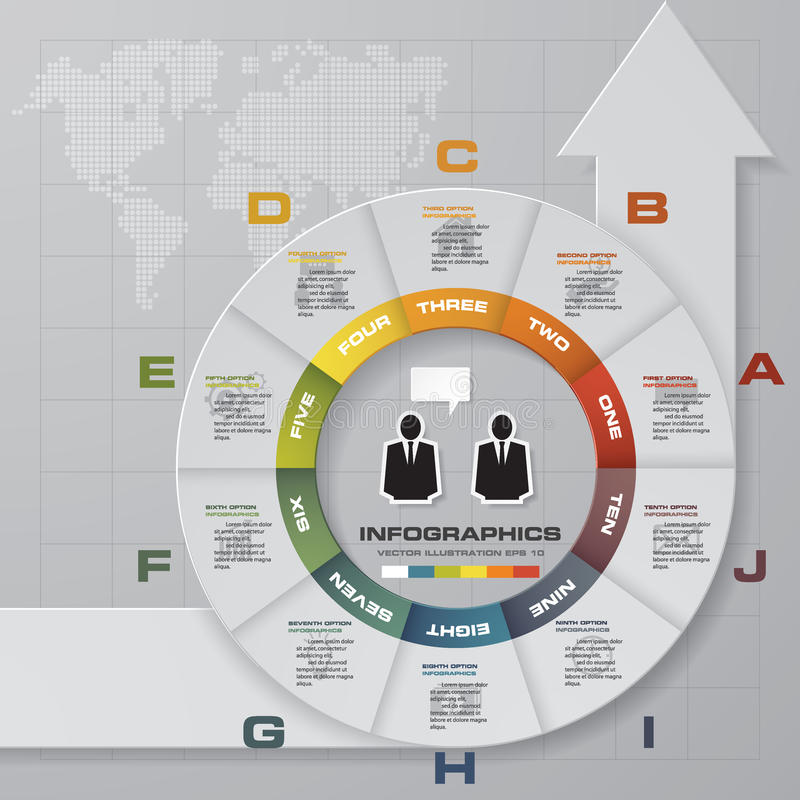 10 etapas no processo da forma do círculo e da seta Elemento do projeto do sumário de Simple&Editable ilustração stock